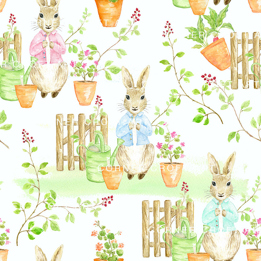 "Watercolor Cumbria Rabbit Seamless Pattern Inspired by ""The Tale Of Peter Rabbit"""