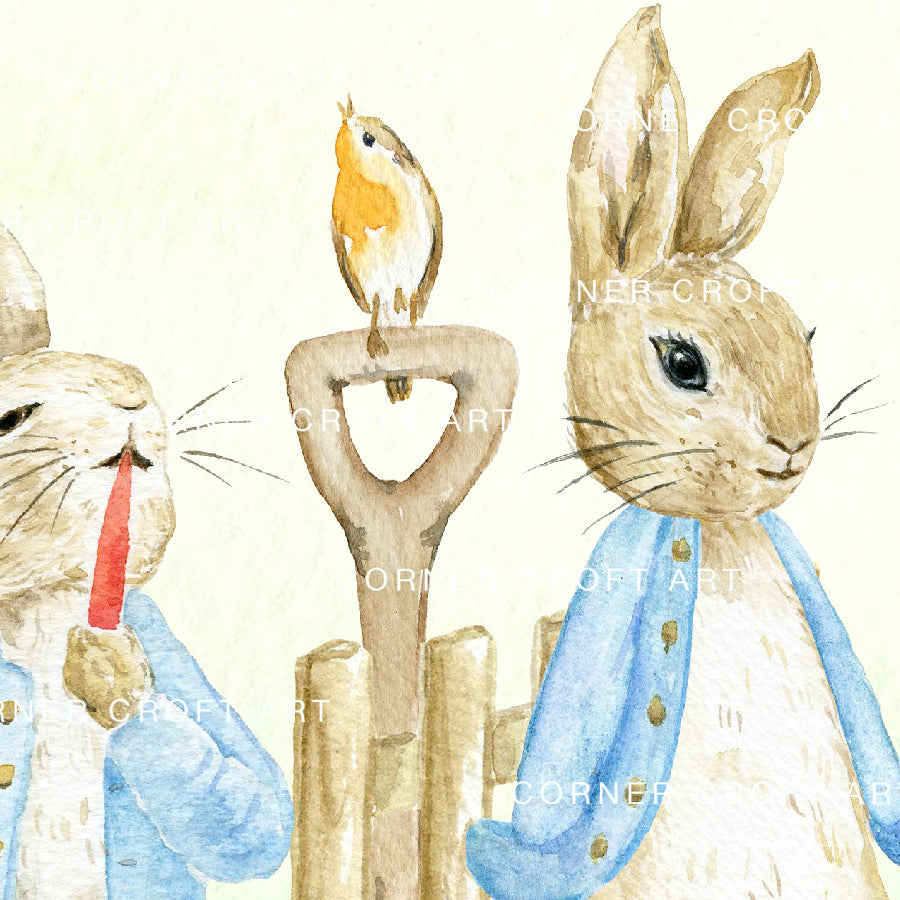 "Watercolor Pattern Cumbria Rabbit Story Inspired by Beatrix Potter ""The Tale of Peter Rabbit"""