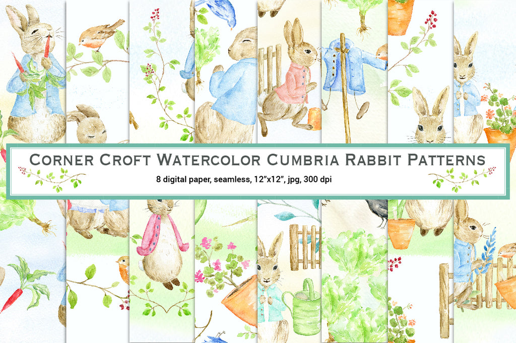 "Watercolor rabbit seamless pattern inspired by Beatrix Potter's ""The Tale of Peter Rabbit"""