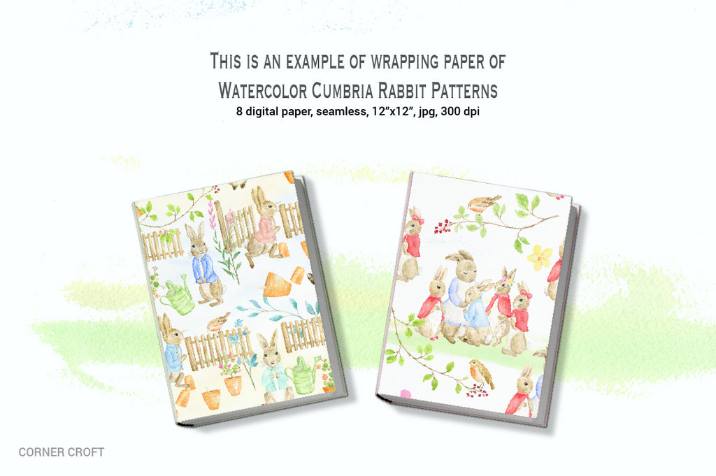 "Watercolor Cumbria Rabbit Pattern inspired by ""The Tale of Peter Rabbit"""