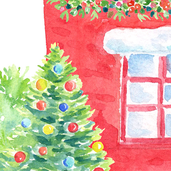 Watercolor Christmas house, red house in snow, my family print