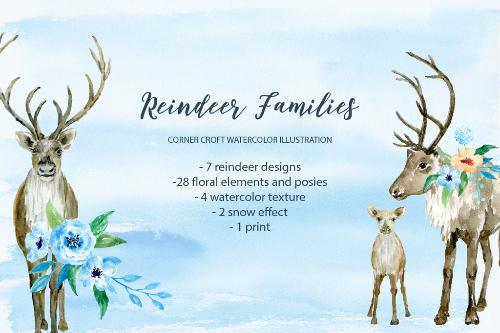 watercolor reindeer illustration, watercolor clipart, for personalised print