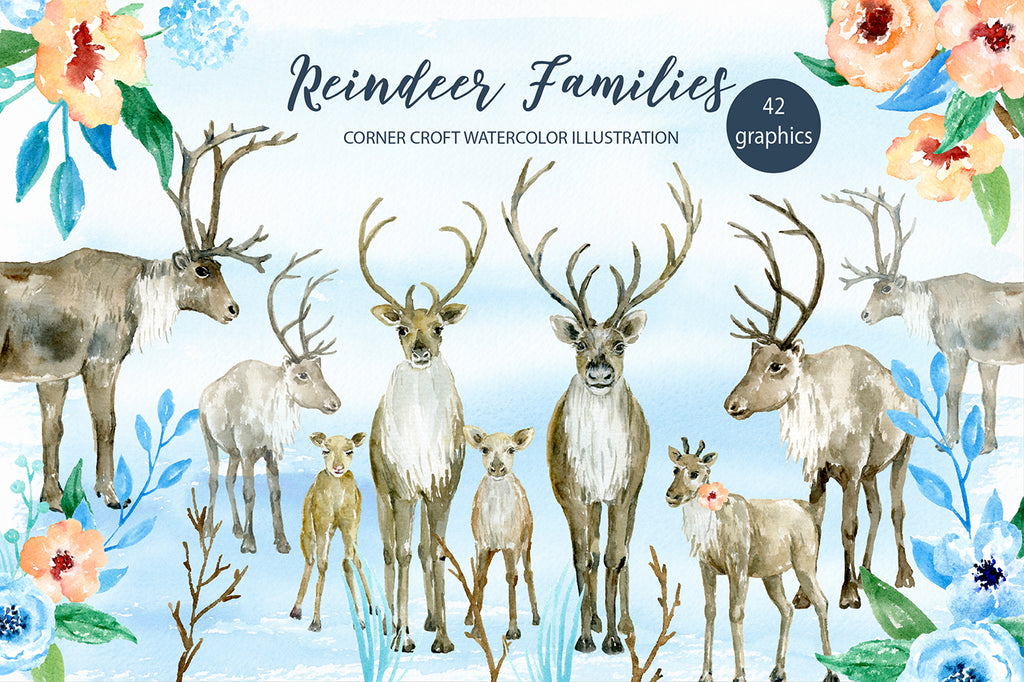 watercolor reindeer family clipart, reindeer illustration, personalised print creator