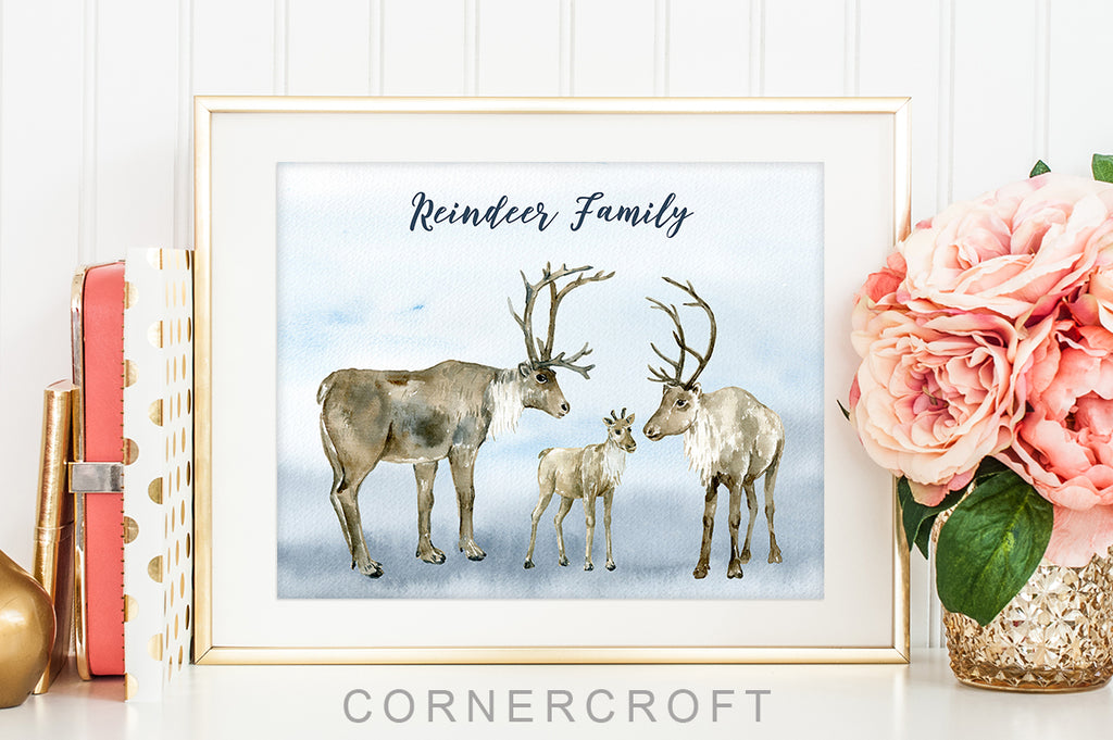watercolor christmas illustration, reindeer clipart, mum, dad and calf