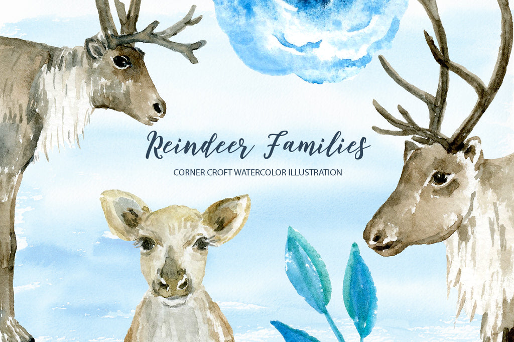 watercolor reindeer family for instant download