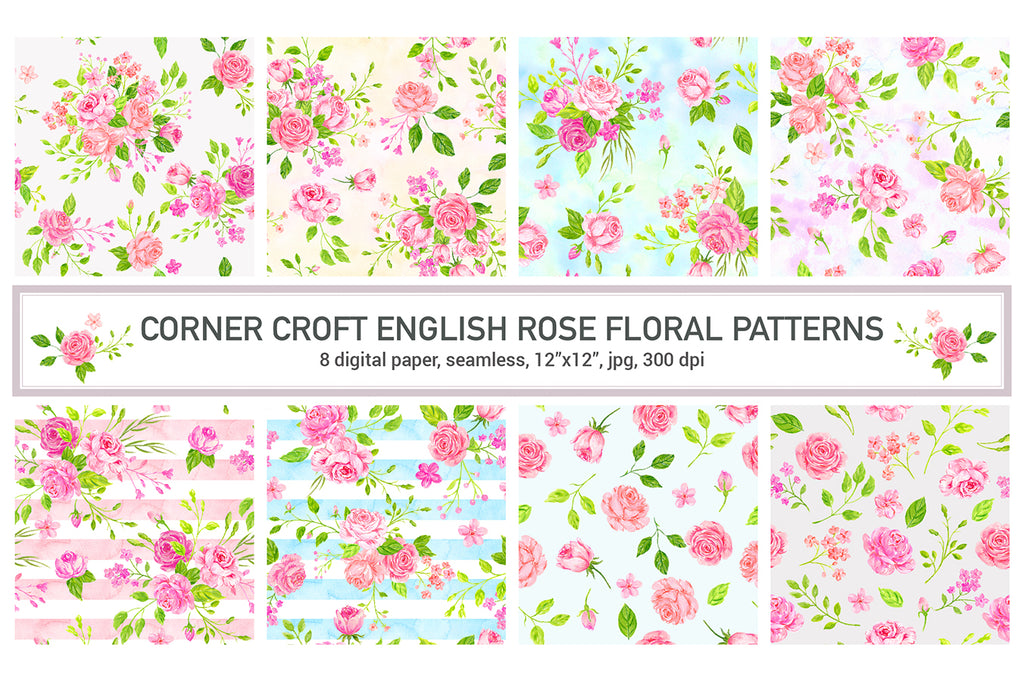 watercolor rose pattern, rose digital paper, rose wrapping paper digital print