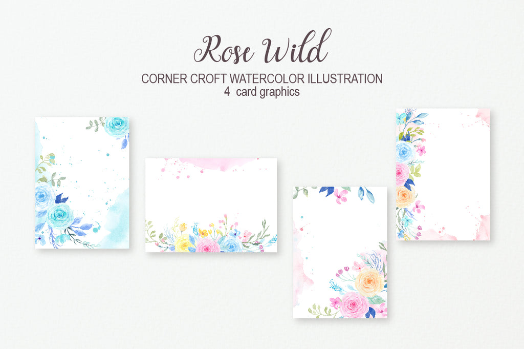 watercolor wedding invitation graphics, pink flower, blue flower, blank card graphics