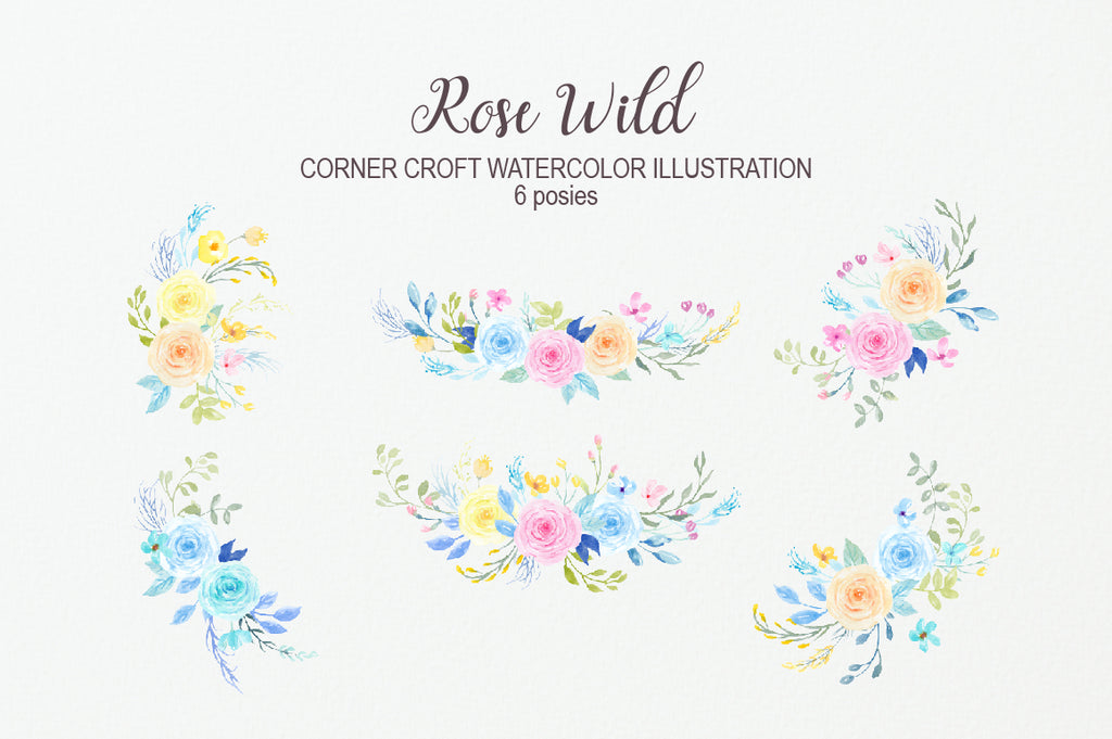 watercolor pastel color floral arrangement, wedding invitation