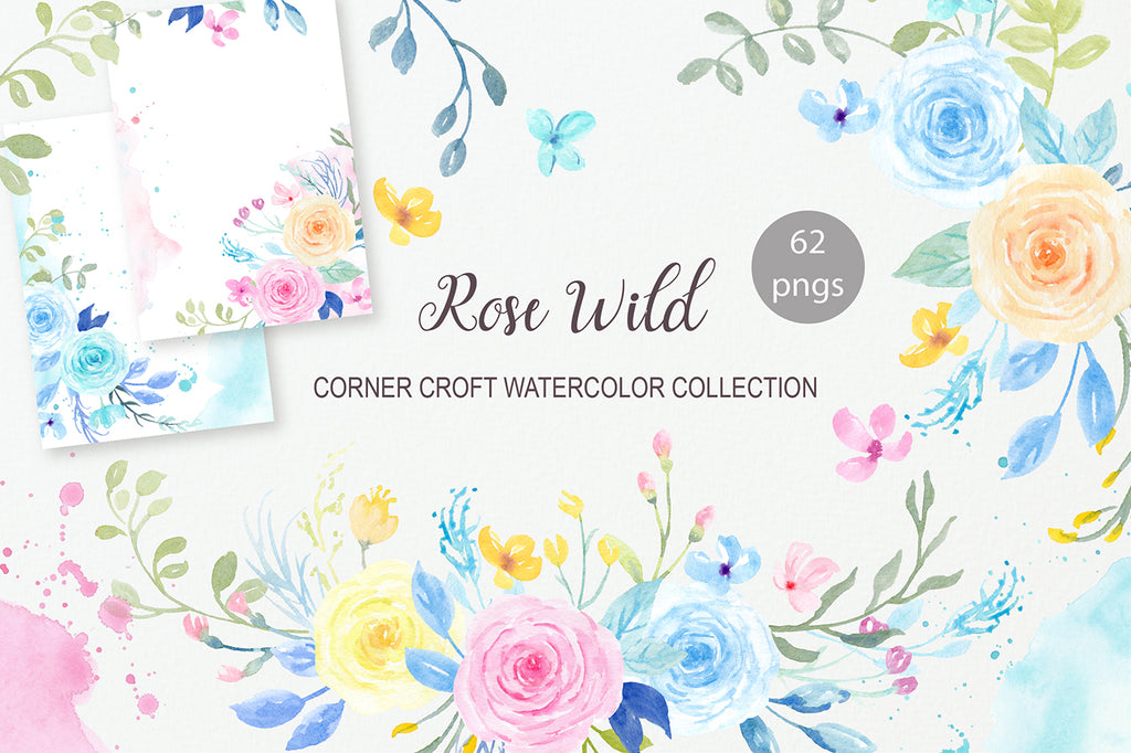 watercolor pastel rose collection, invitation card graphics instant download