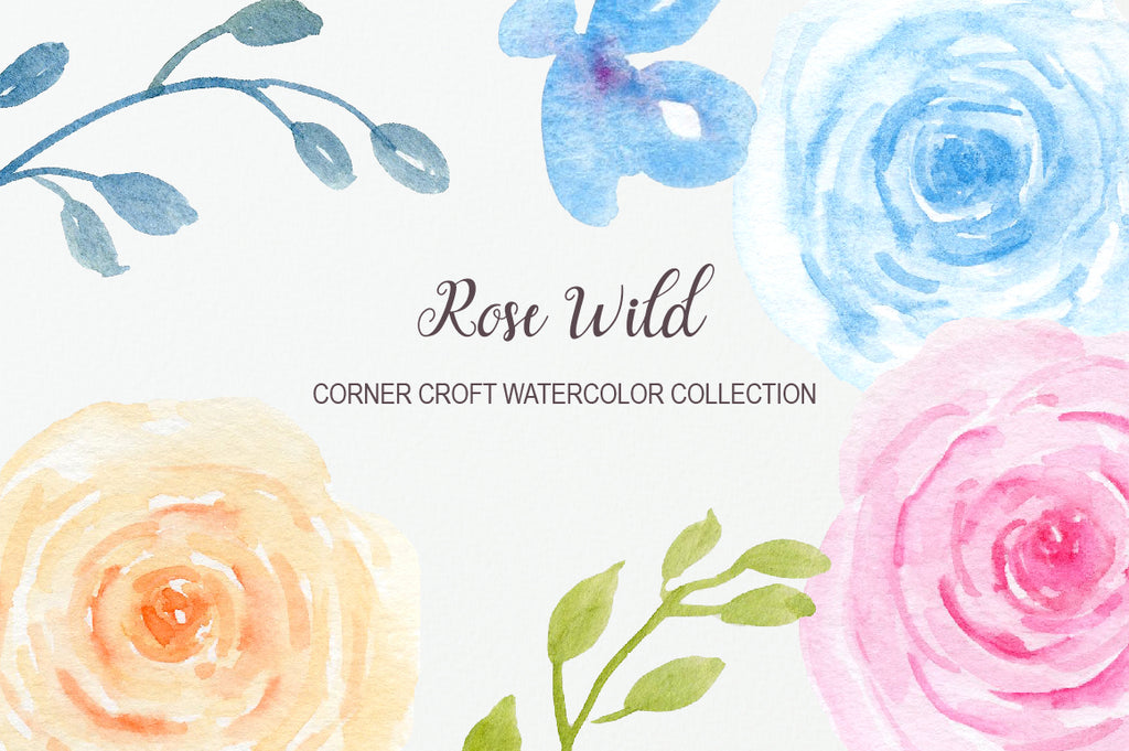 watercolor rose wild clipart, wedding invitation graphics, instant download
