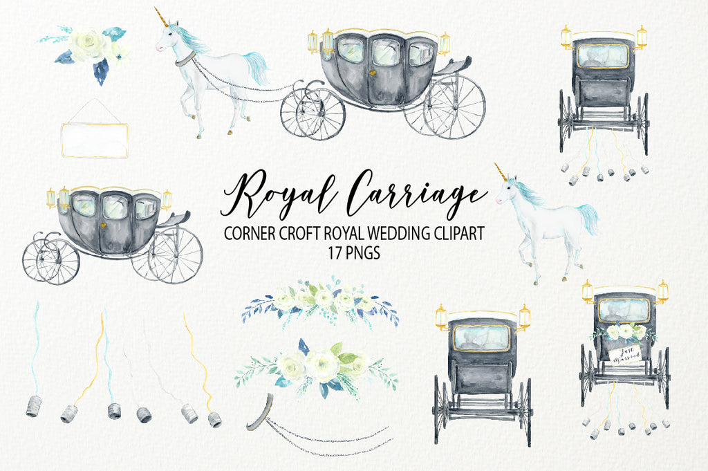 watercolor clipart royal carriage, British royal family carriage, black wedding carriage, white unicorn clipart