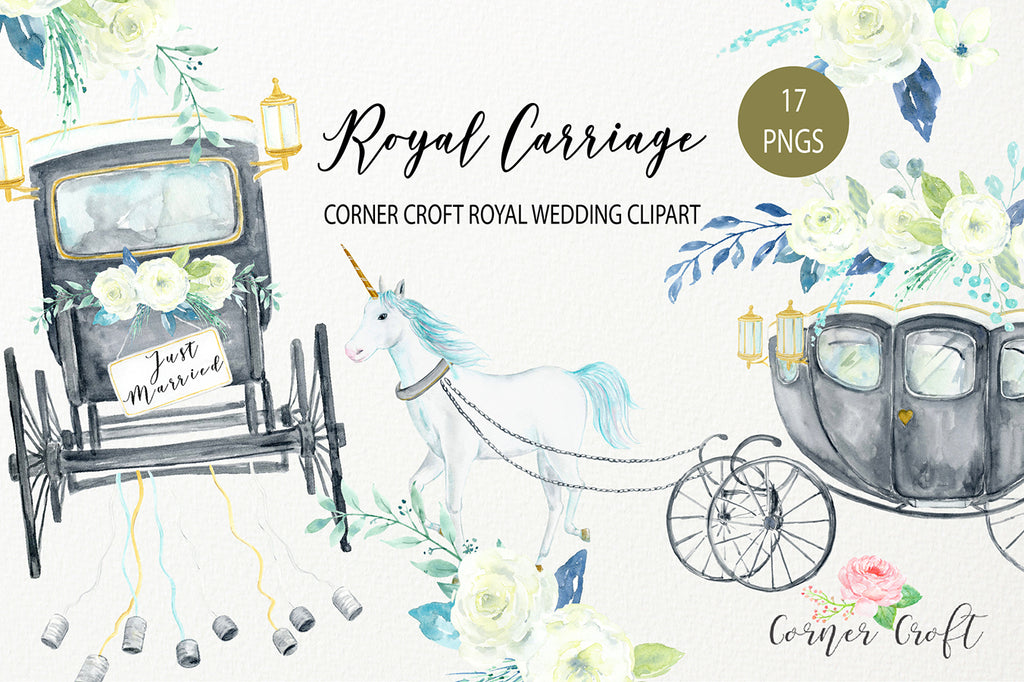 watercolor clipart royal carriage, wedding in style, prince harry and Meghan Markle