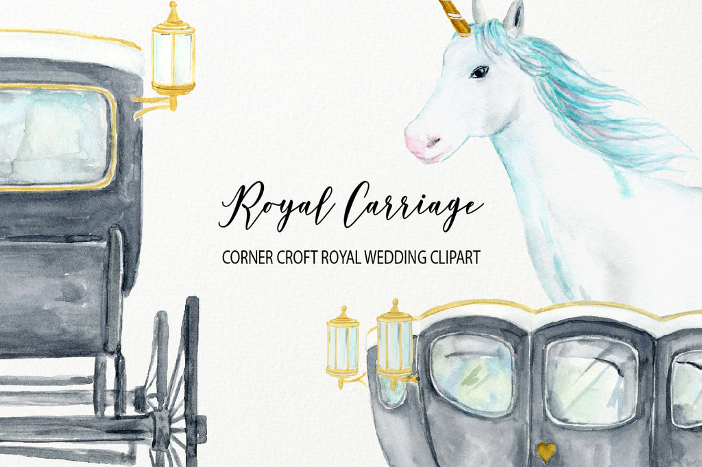 watecolor princess carriage, unicorn carriage, royal carriage, black carriage, white unicorn illustration