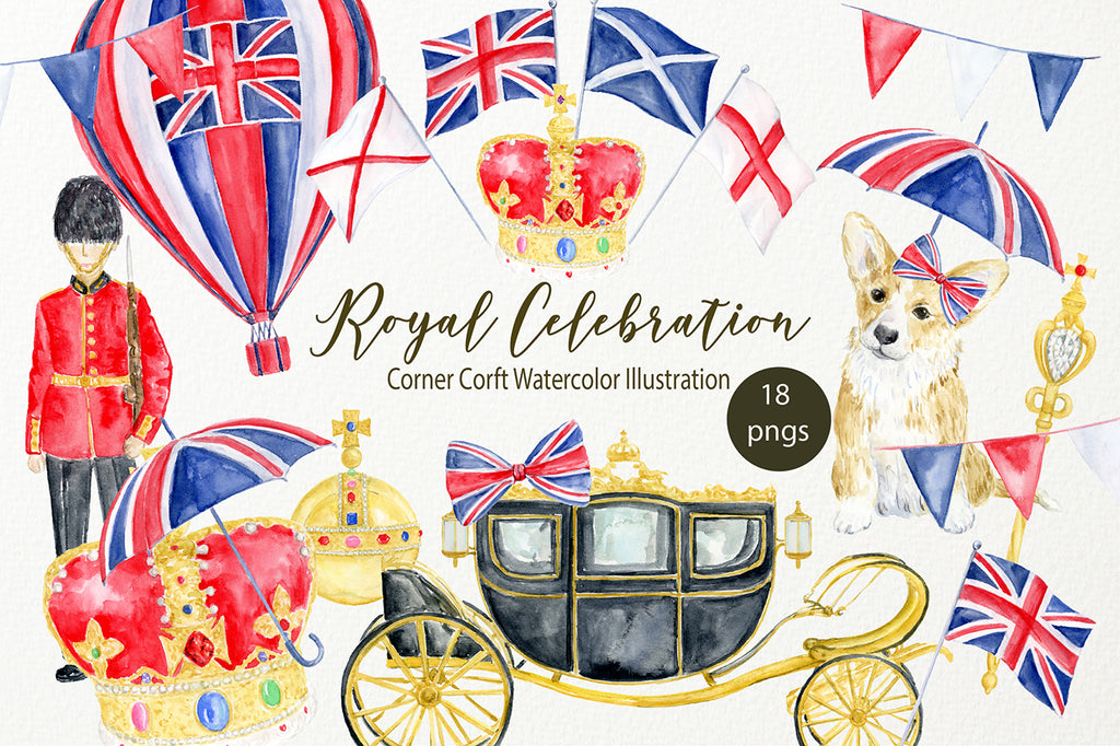 watercolor royal carriage in black and gold, red and gold royal crown, orb and sceptre, detailed illustration