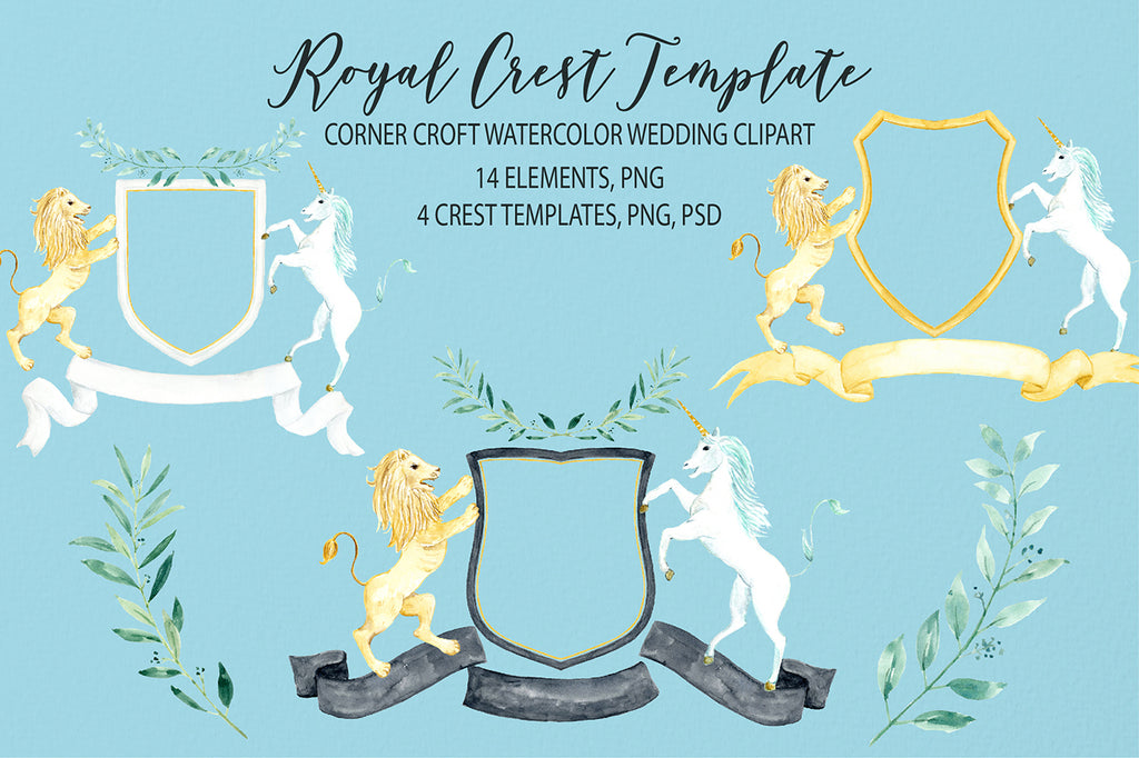 Watercolor royal crest clipart, crest template, lion and unicorn crest, wedding crest, coat of arms, instant download