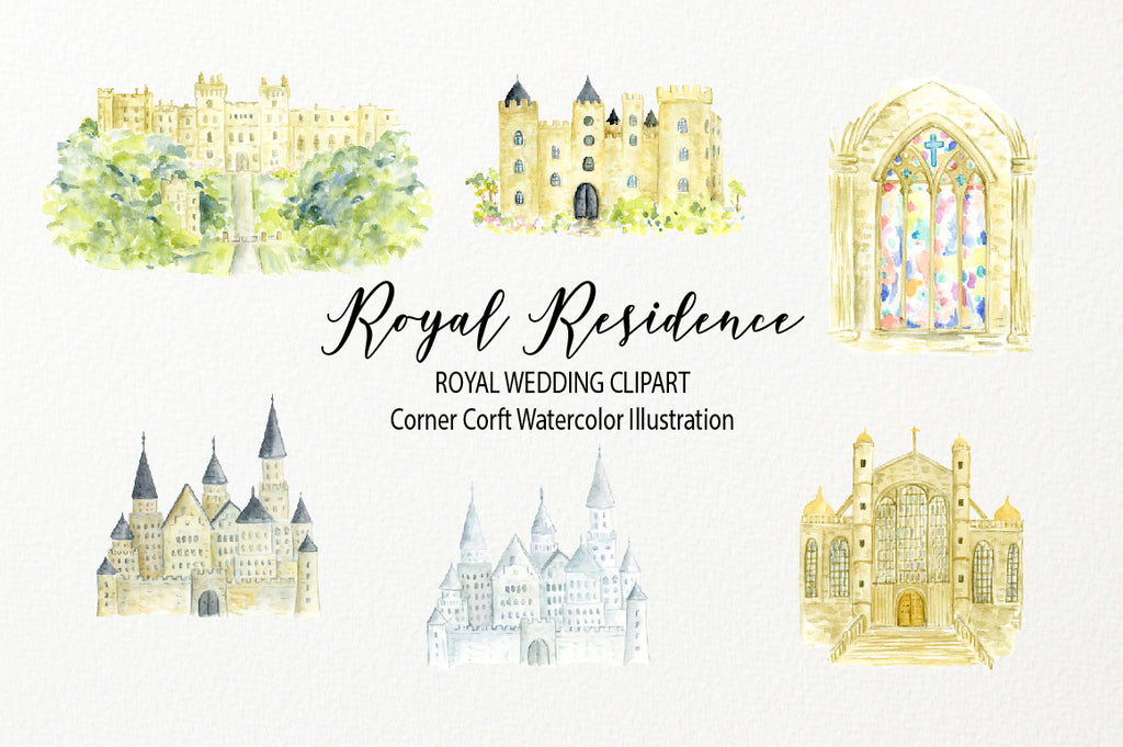 watercolor royal residence illustration, Windsor Castle, St. George's Chapel, royal wedding venue