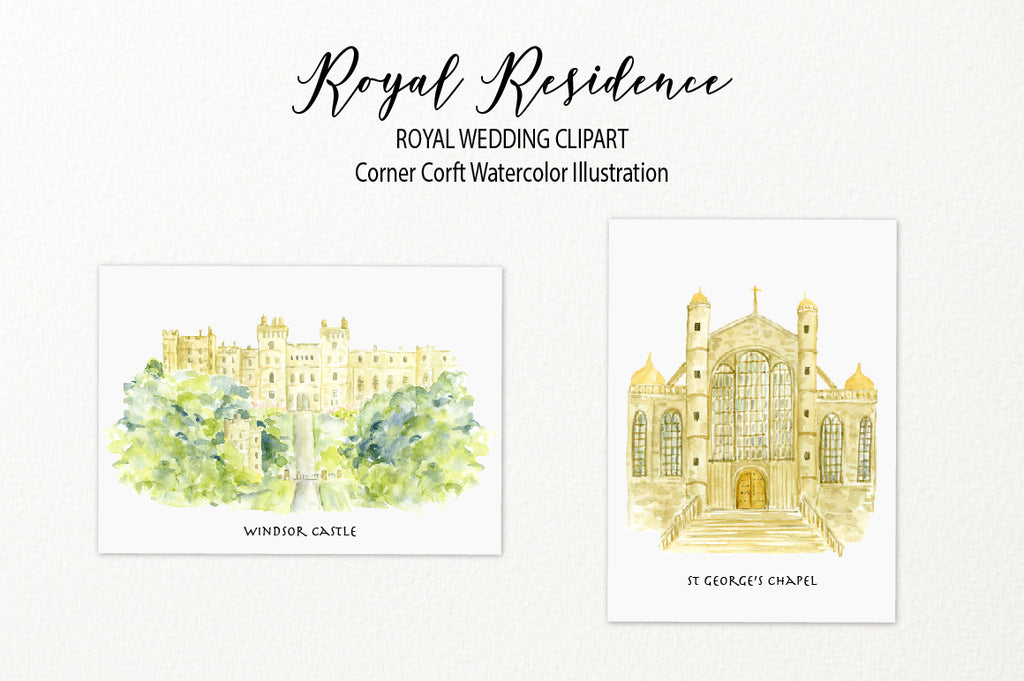 Royal wedding venue illustration, Windsor Castle and St. George's Chapel, wedding church illustration
