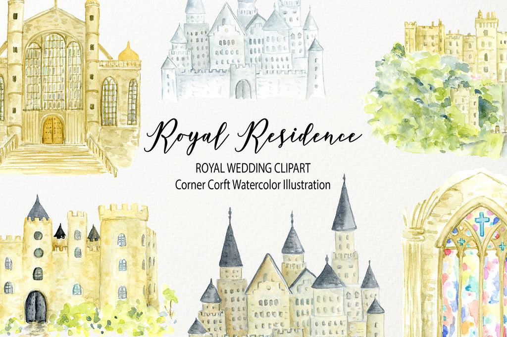 watercolor royal wedding clipart, wedding venue, castle, church, instant download