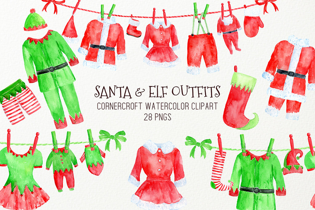 watercolor Santa outfit, elf outfit on washing line, Christmas clipart