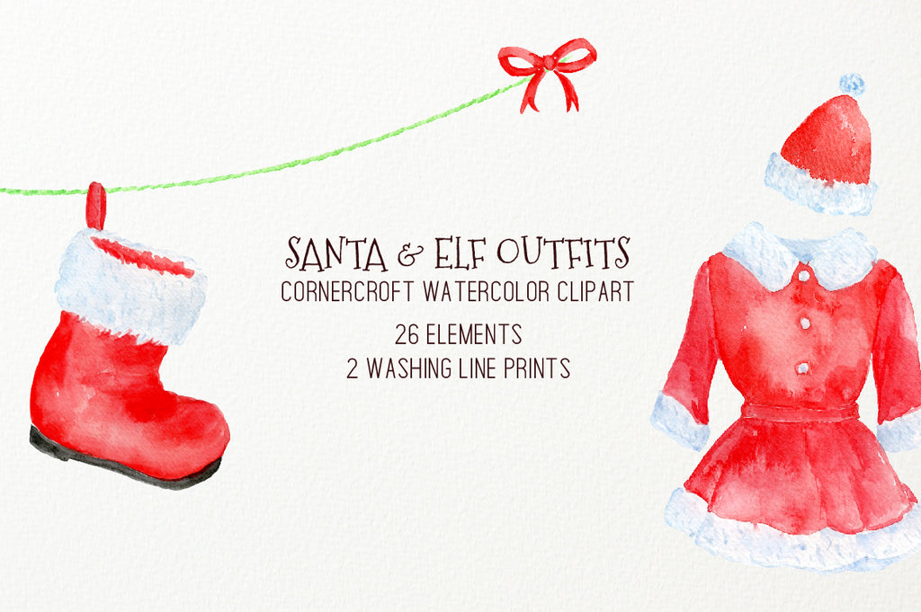 watercolor elf dress, santa dress, washing line, personalised print creator