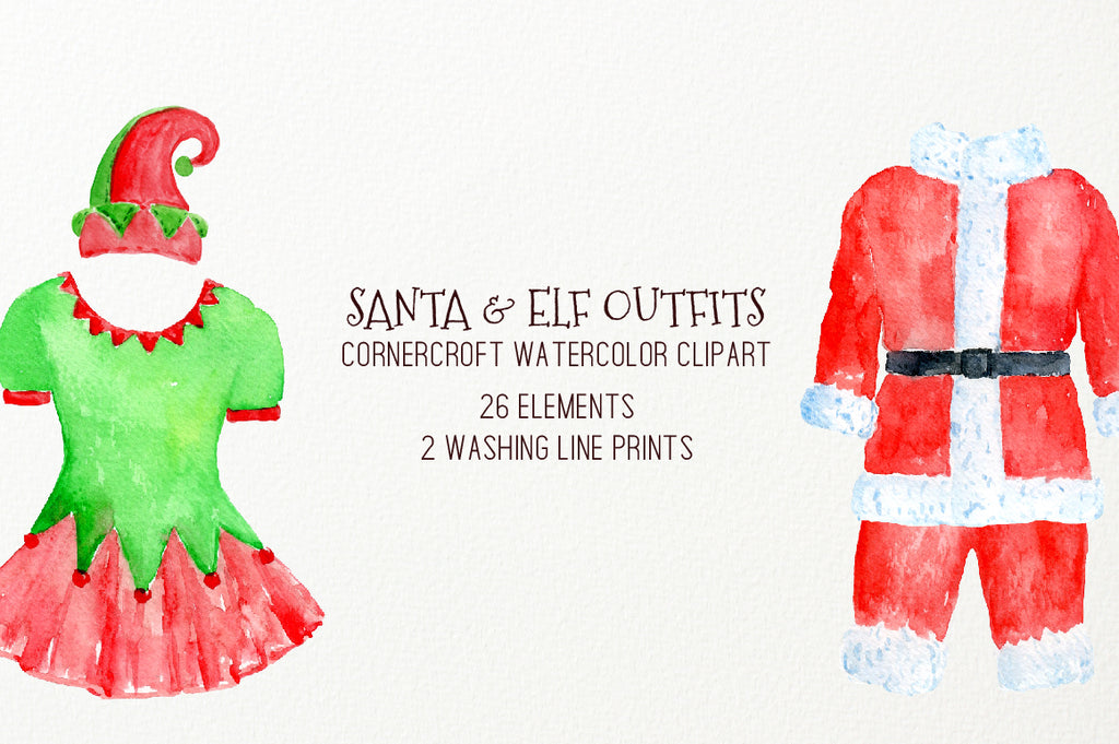 watercolor clipart Christmas clothing, elf stocking, elf hat, underwear, fashion clipart