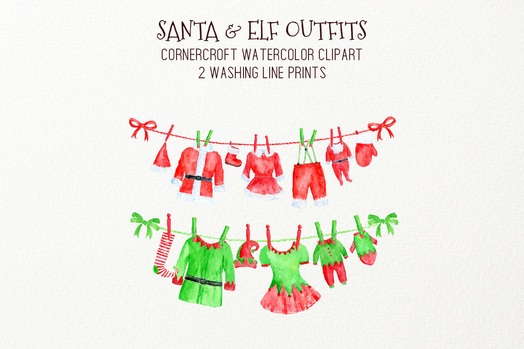 watercolor Christmas clothes on washing line, watercolor clipart, instant download