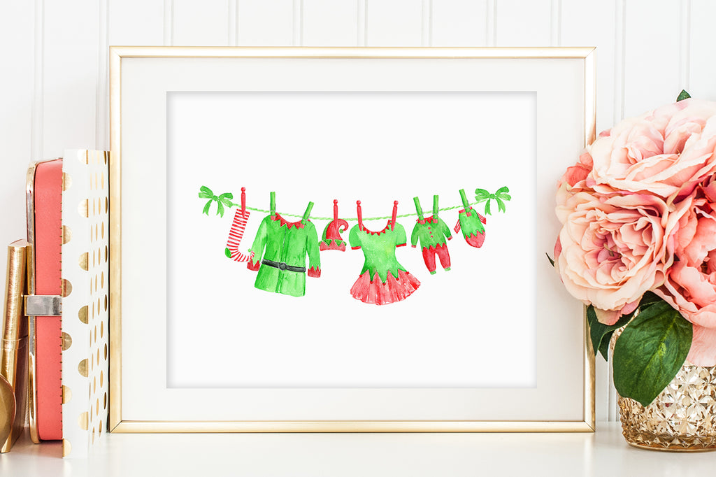 watercolor Christmas clipart, Santa Claus outfit clipart, elf outfit on washing line,
