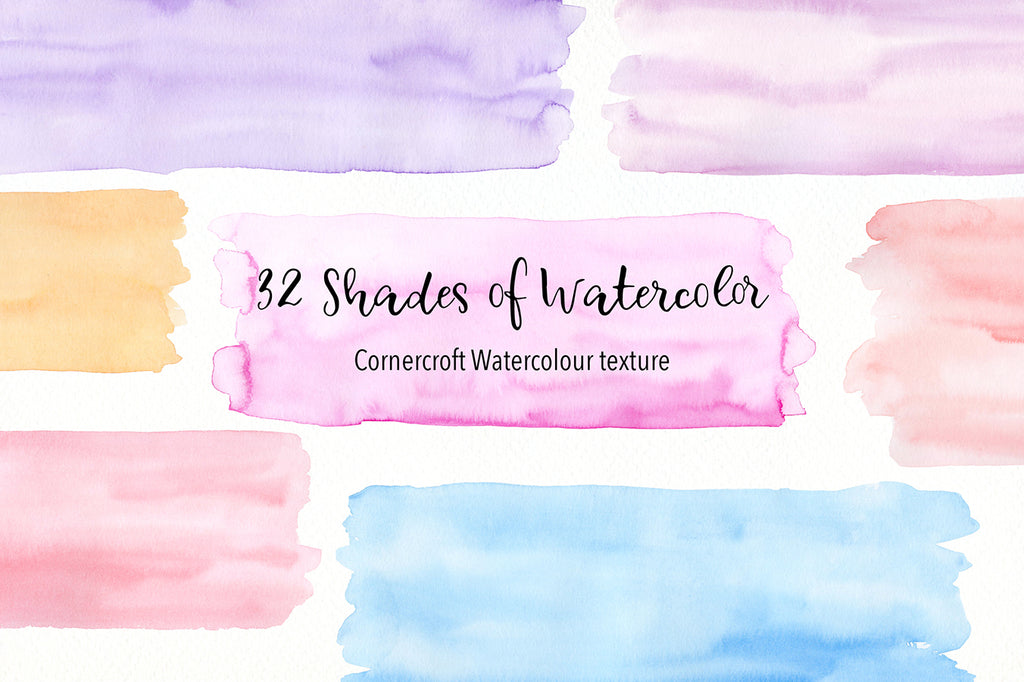 32 shades of watercolor texture, large watercolor brush strokes