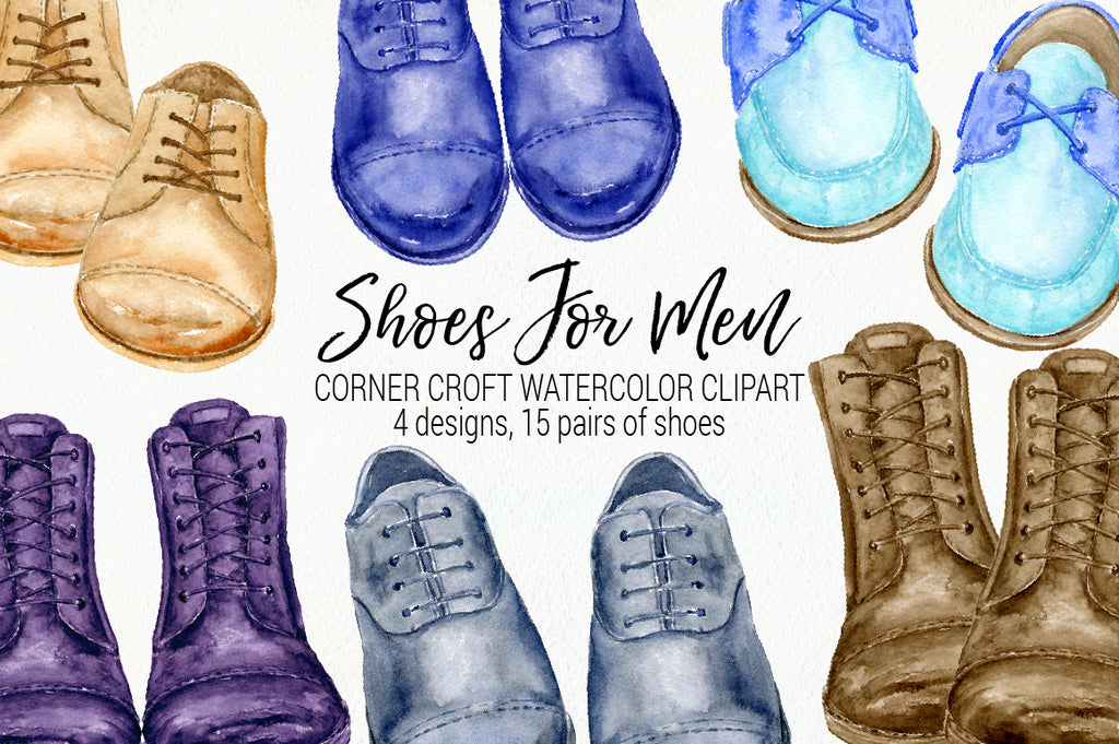 watercolour clipart shoes for men, mens formal shoes, casual shoes, shoes illustration