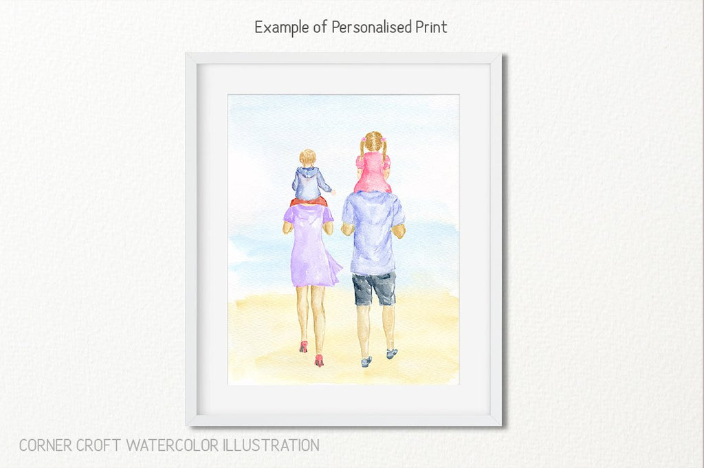 watercolor clipart shoulder ride for creating personalised print, mother's day gift, father's day gift