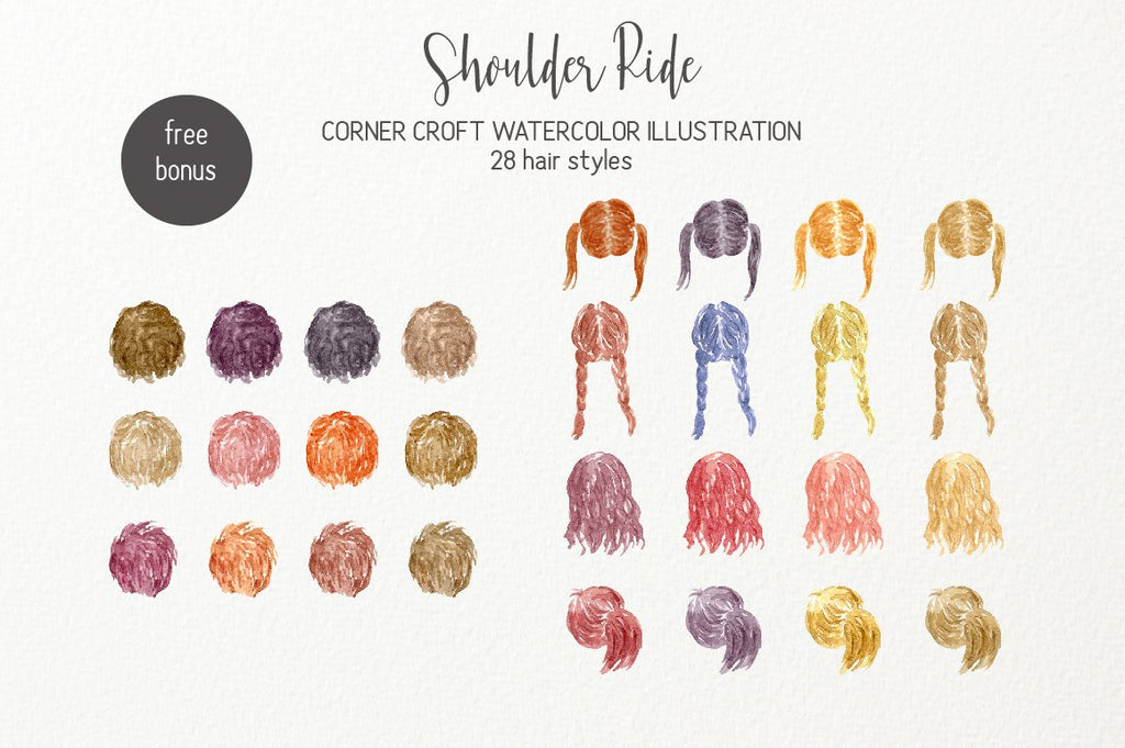 watercolor clipart shoulder ride hair style