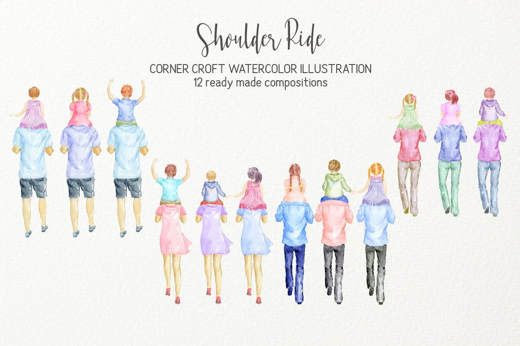 Watercolor clipart shoulder ride, child rides on parent's shoulder, create personalised print