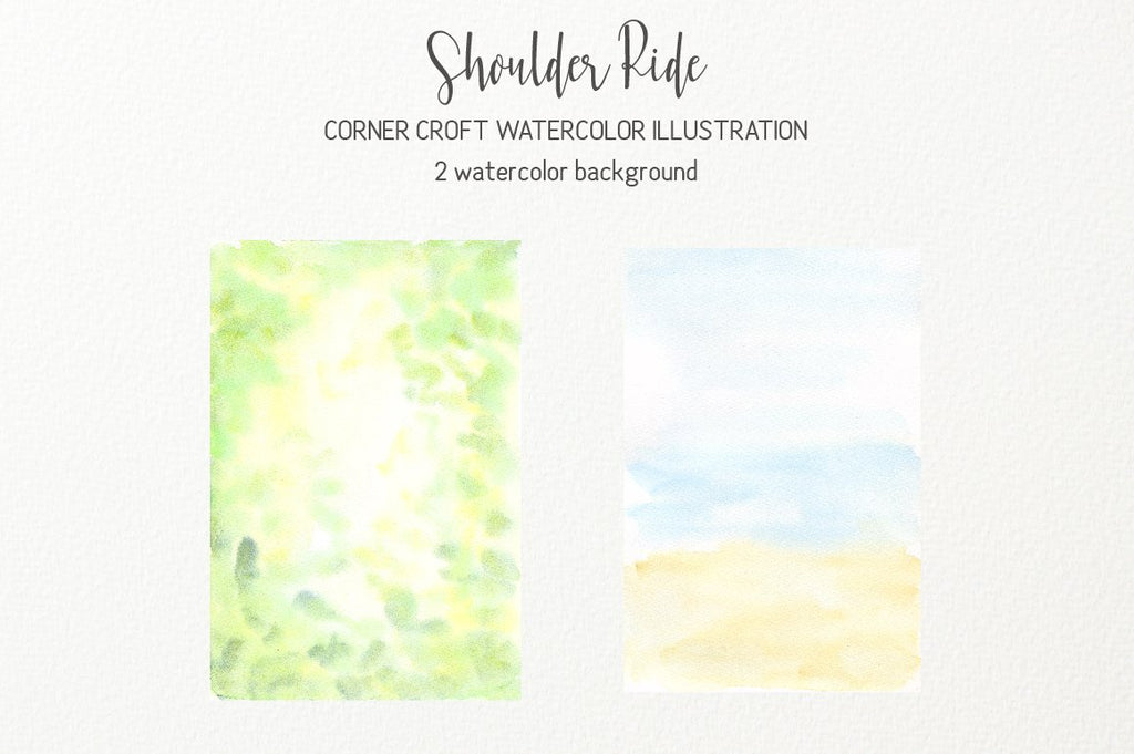 watercolor background taxture, green and sea, shoulder ride clipart