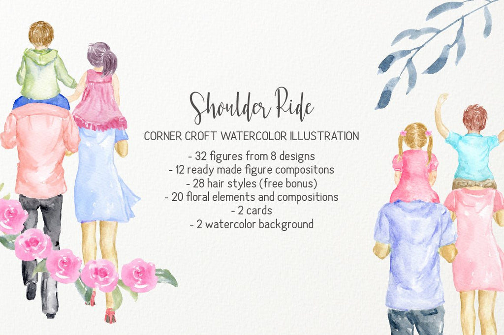 Watercolor clipart shoulder ride, mother's day gift, father's day gift