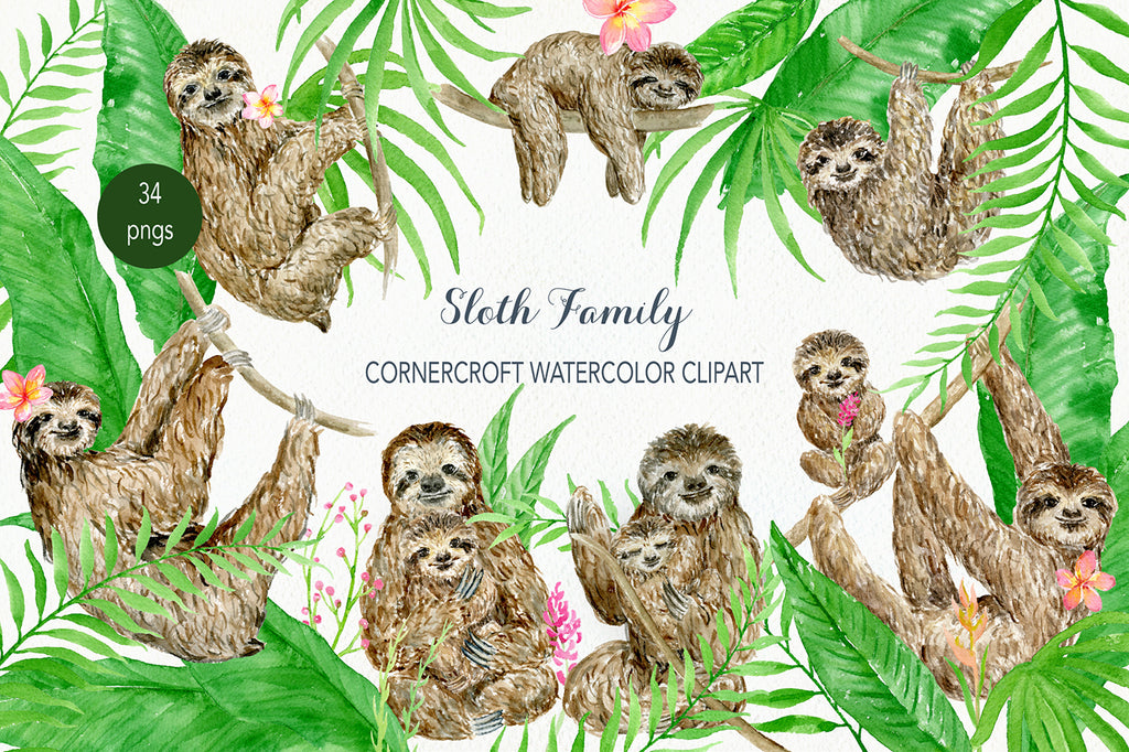 watercolor sloth family illustration, personalised print creator