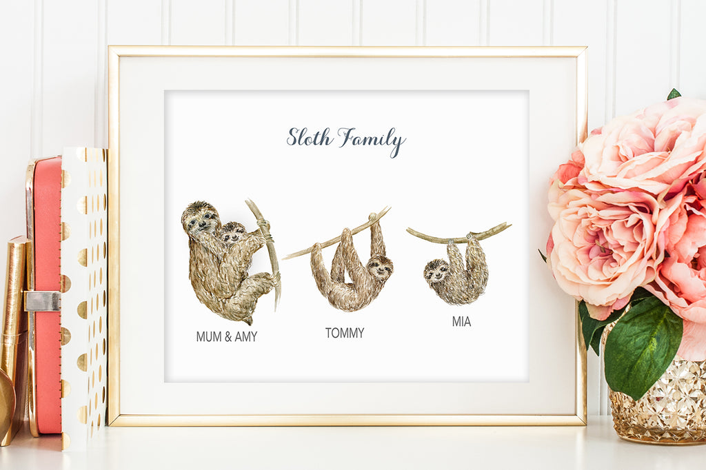 watercolor sloths, mother's day gift, personalised print
