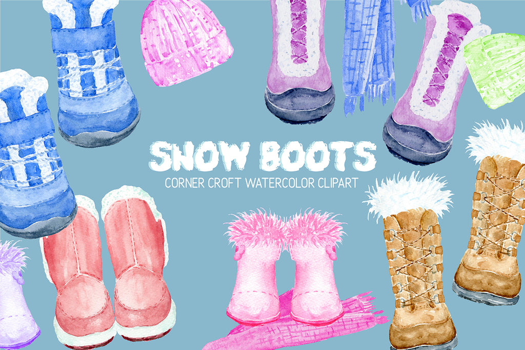 watercolor winter boots illustration, snow boots, pink, blue, yellow, digital download