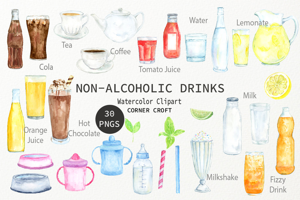watercolour clipart soft drink, fizzy drink, tea and coffee, cola, lemonade, juice, drink illustration