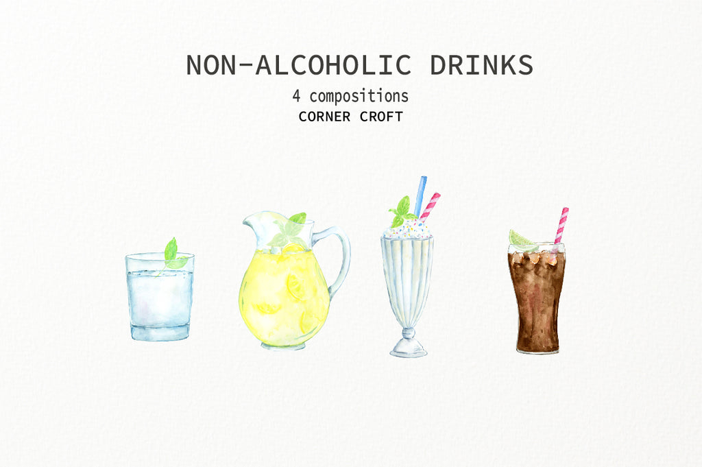my family print of drinks, watercolour illustration of drinks, non alcoholic drink, corner croft design