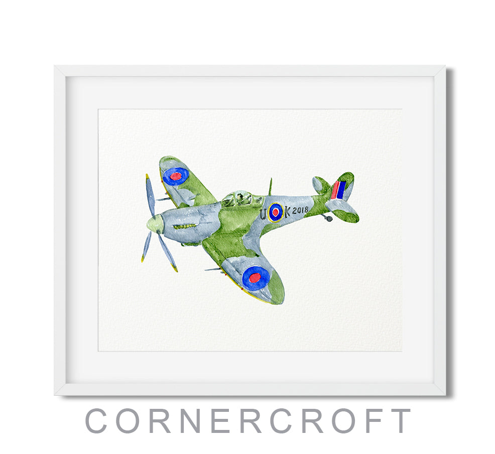 Watercolor RAF spitfire fighter illustration, printable, boy room decor