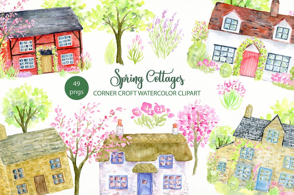 watercolor spring cottages, garden flowers, spring house, home illustration