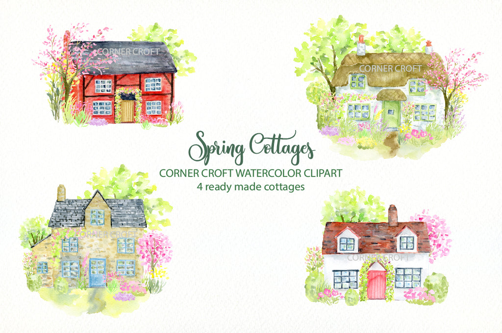 watercolor spring cottages, watercolor flowers for address labels, greeting cards