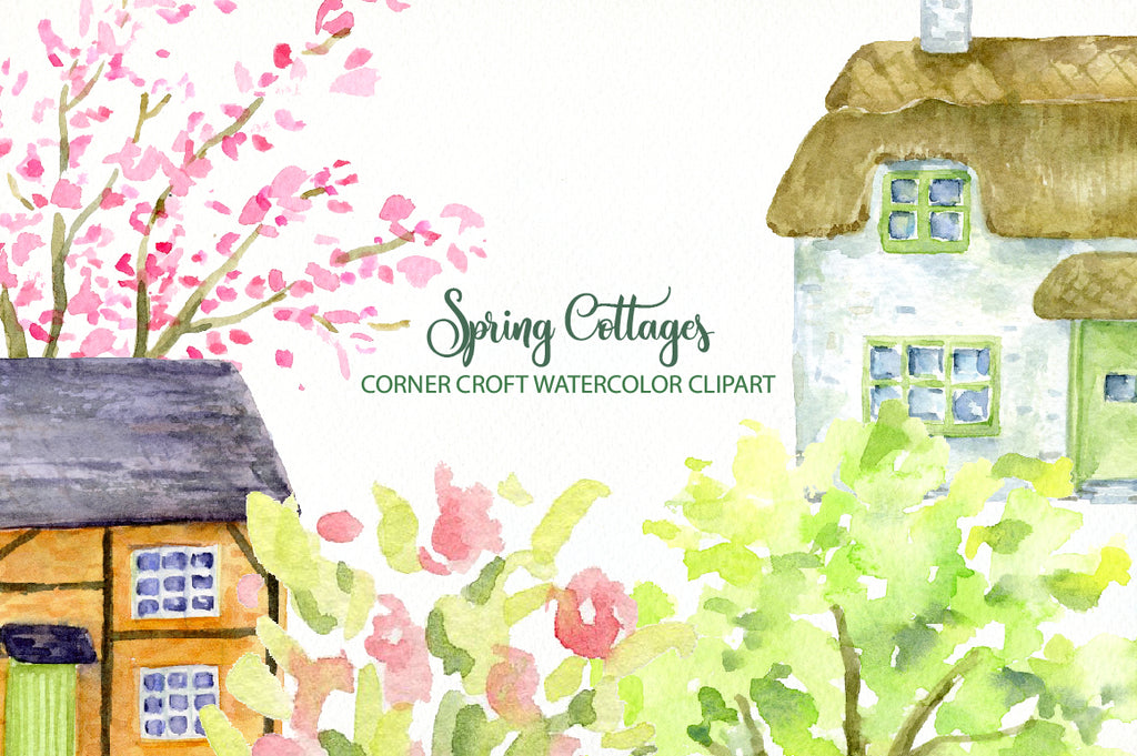 watercolor country cottage illustration, digital file