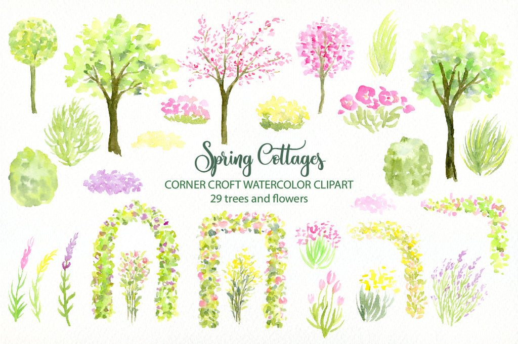 watercolor spring trees, spring flowers, watercolor spring cottages digital download