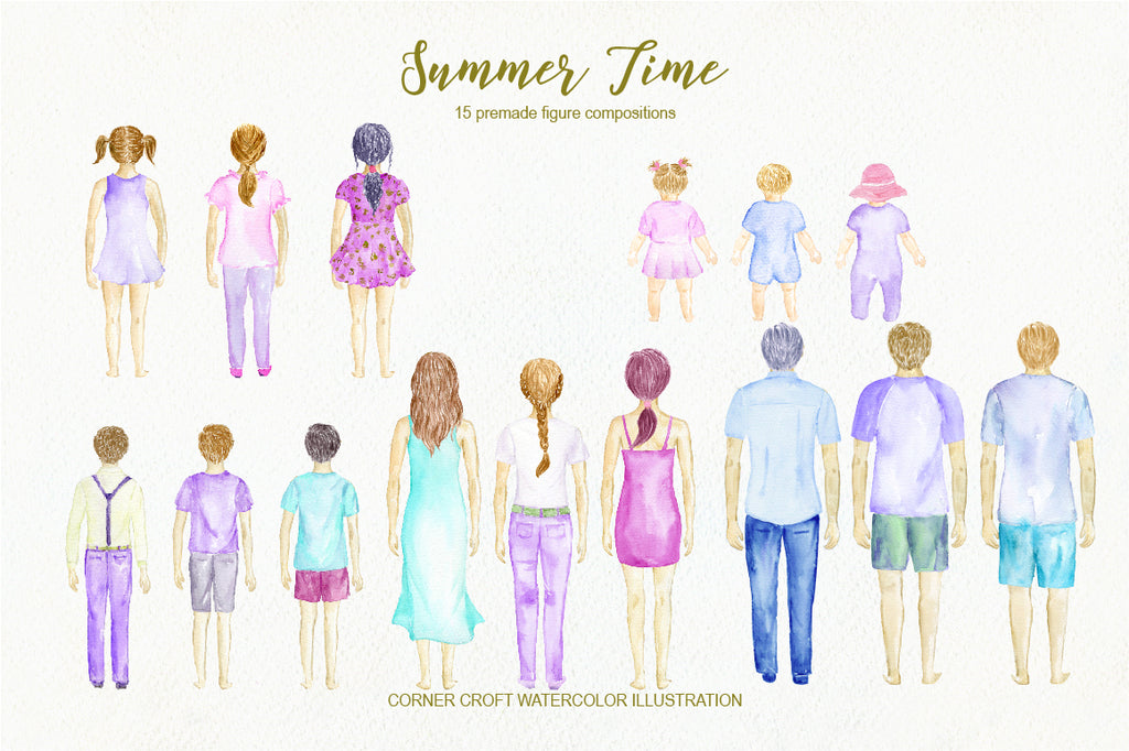 watercolor illustration summer time, people in summer clothes, personalised print creator