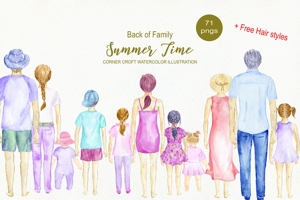 watercolor clipart back of family, mum, dad, boy, girl and baby personalised print creator