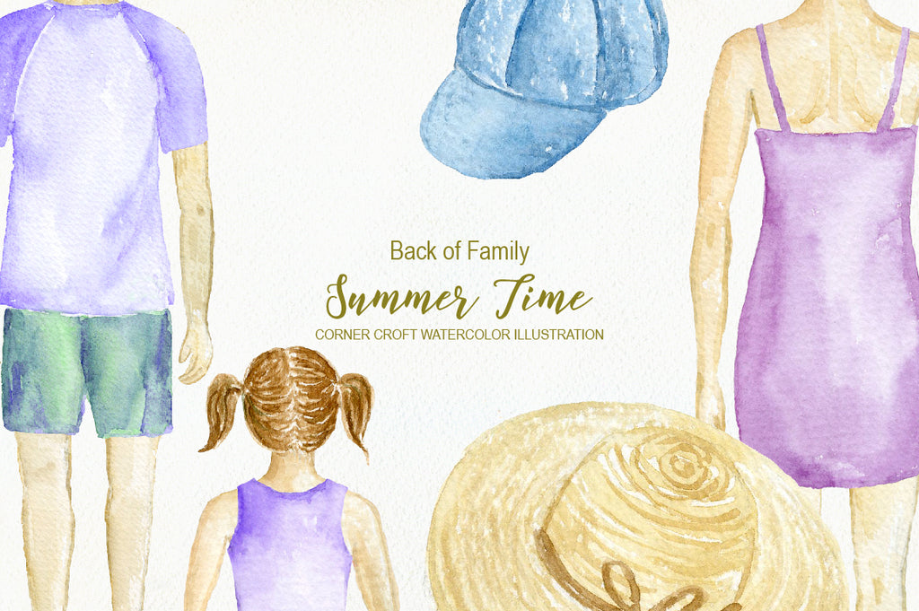watercolor clipart, summer time, people portrait, instant download