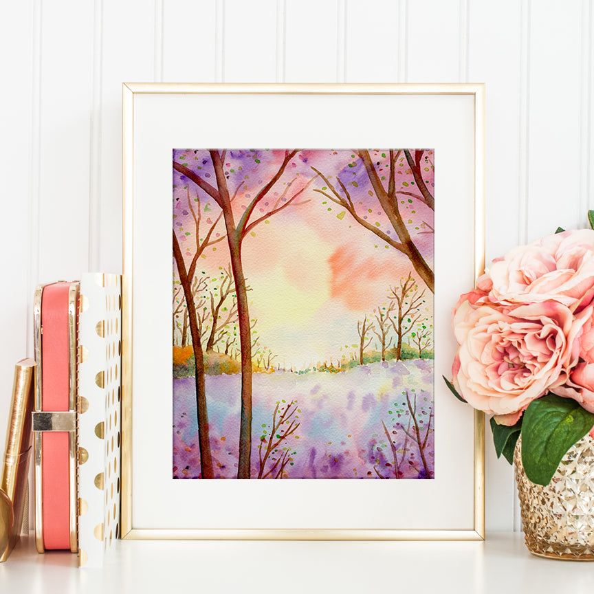 watercolor painting of sunset woodland, pink and purple themed watercolor painting of woodland, instant download