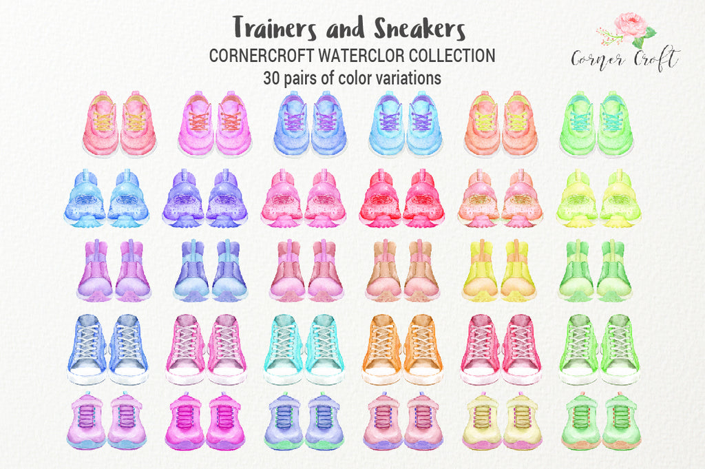 watercolor trainer collection, sneaker illustration, digital download