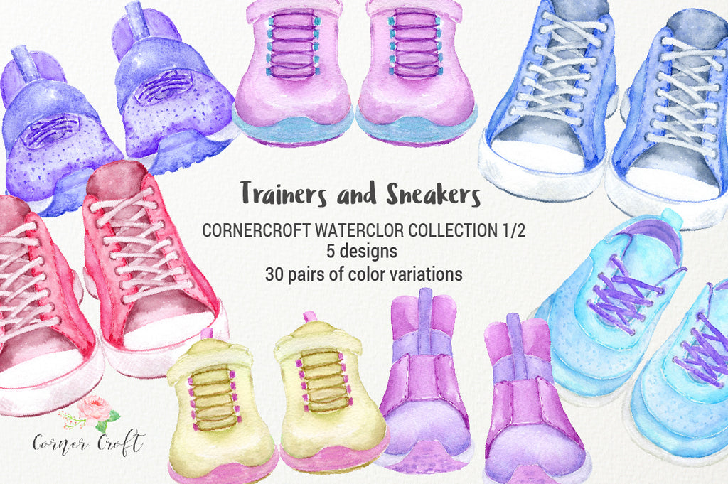 watercolor clipart, trainer, sneaker, trainer illustration, instant download